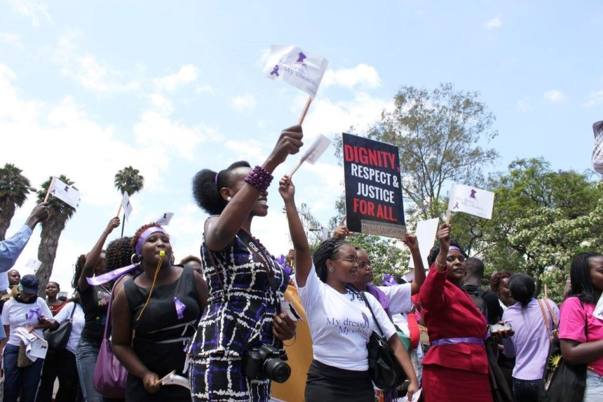 We demand dignity, respect and justice for all. Protestors chanting 'My dress, My Choice' across the streets of Nairobi.  This is about 12:30 PM.