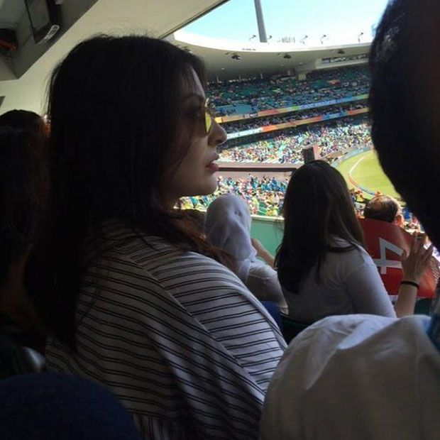 Filmstar Anushka Sharma at the Sydney Cricket Ground watching the Semi-Finals of the World Cup clash between Australia and India.