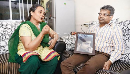 Dalit student Aniket Ambhore's parents during an interaction with media.