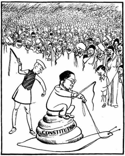 A 1949 cartoon drawn by Shankar Pillai on Dr. Ambedkar and Jawaharlal Nehru which was reproduced in a school text book.  The cartoon was removed after widespread protests stating that it was insulting Ambedkar.